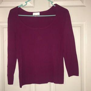 Cranberry Scoop Neck Medium Sweater